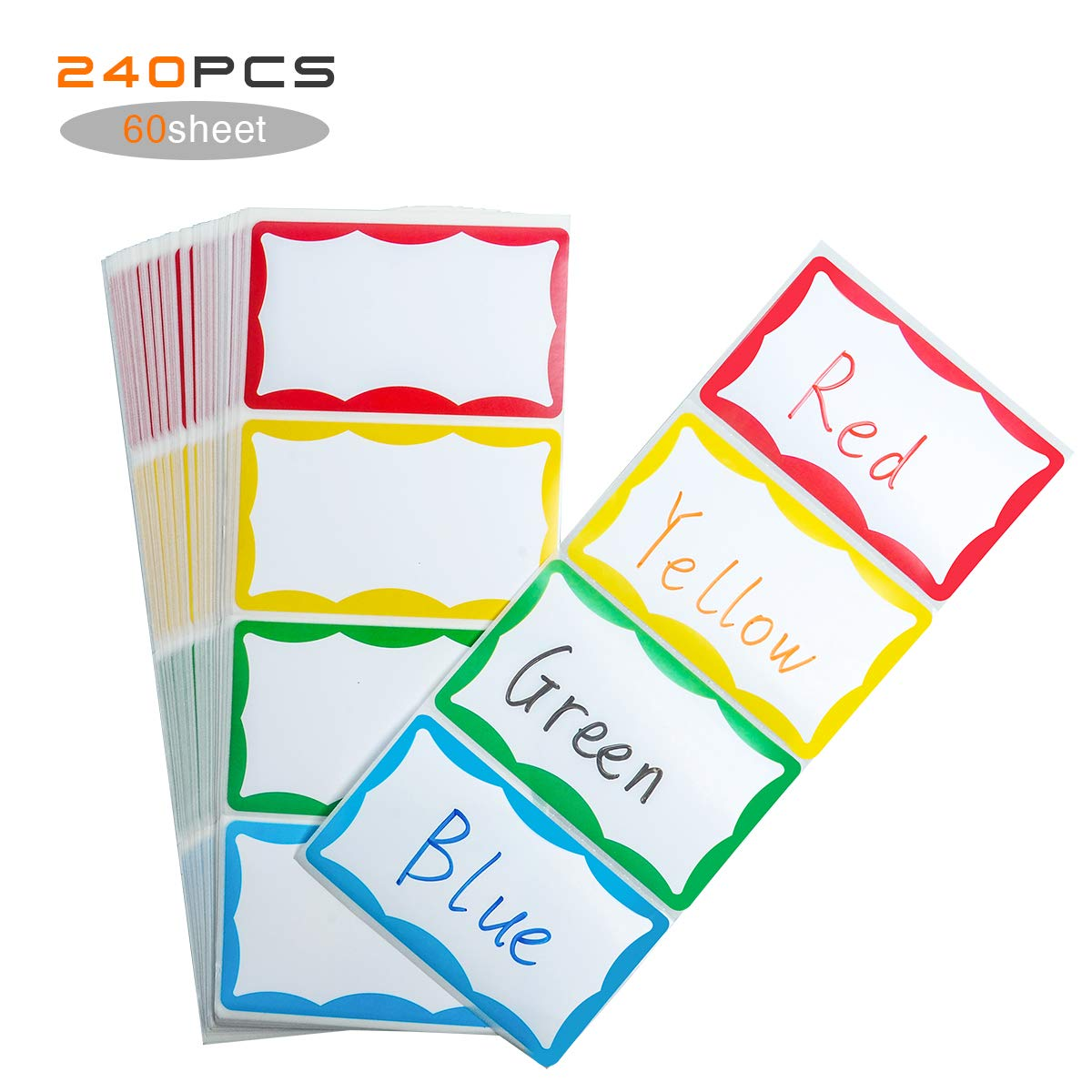 Wiwaplex plain name tag stickercolorful border name tag labels self adhesive name badge labels for office school home 240pcs