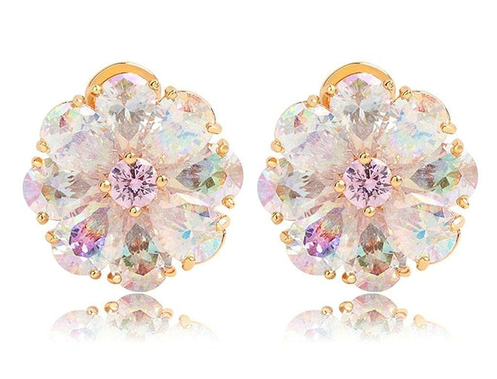 KnSam Women Gold Plate Pierced Stud Earrings Flower Teardrop Crystal Rhinestone Rainbow
