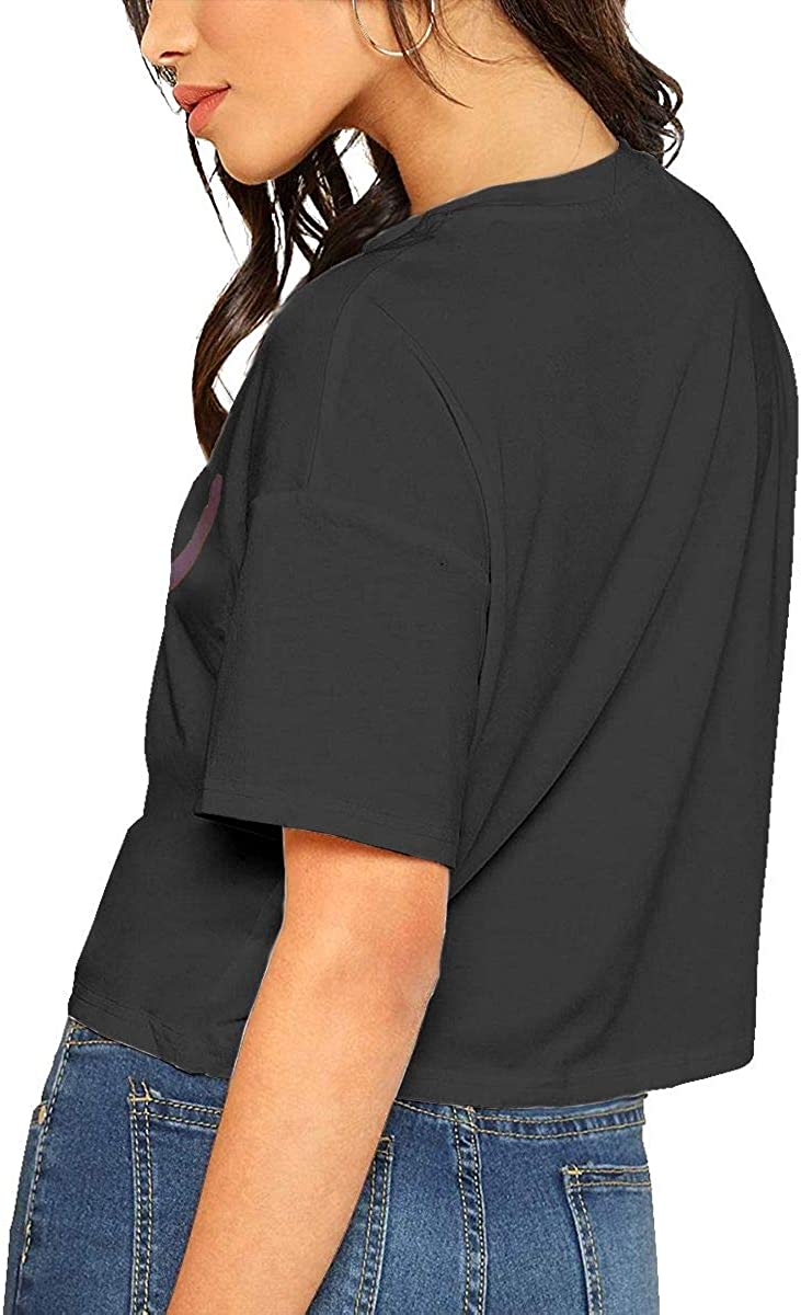 VANMASS Womens Smile Short Sleeves Crop Tops Shirts