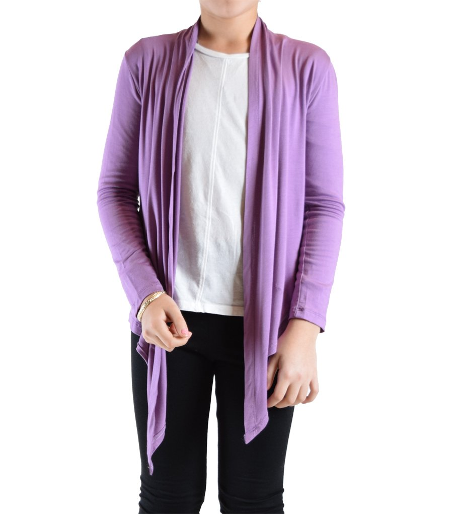 Dinamit Jeans Big Girls' Long Sleeve Flyaway Cardigan Sweater Dusty Purple Medium