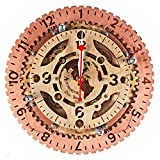Cheap Automaton Dual Time unique industrial wooden wall clock, personalized, steampunk, one-of-a-kind, victorian, gift