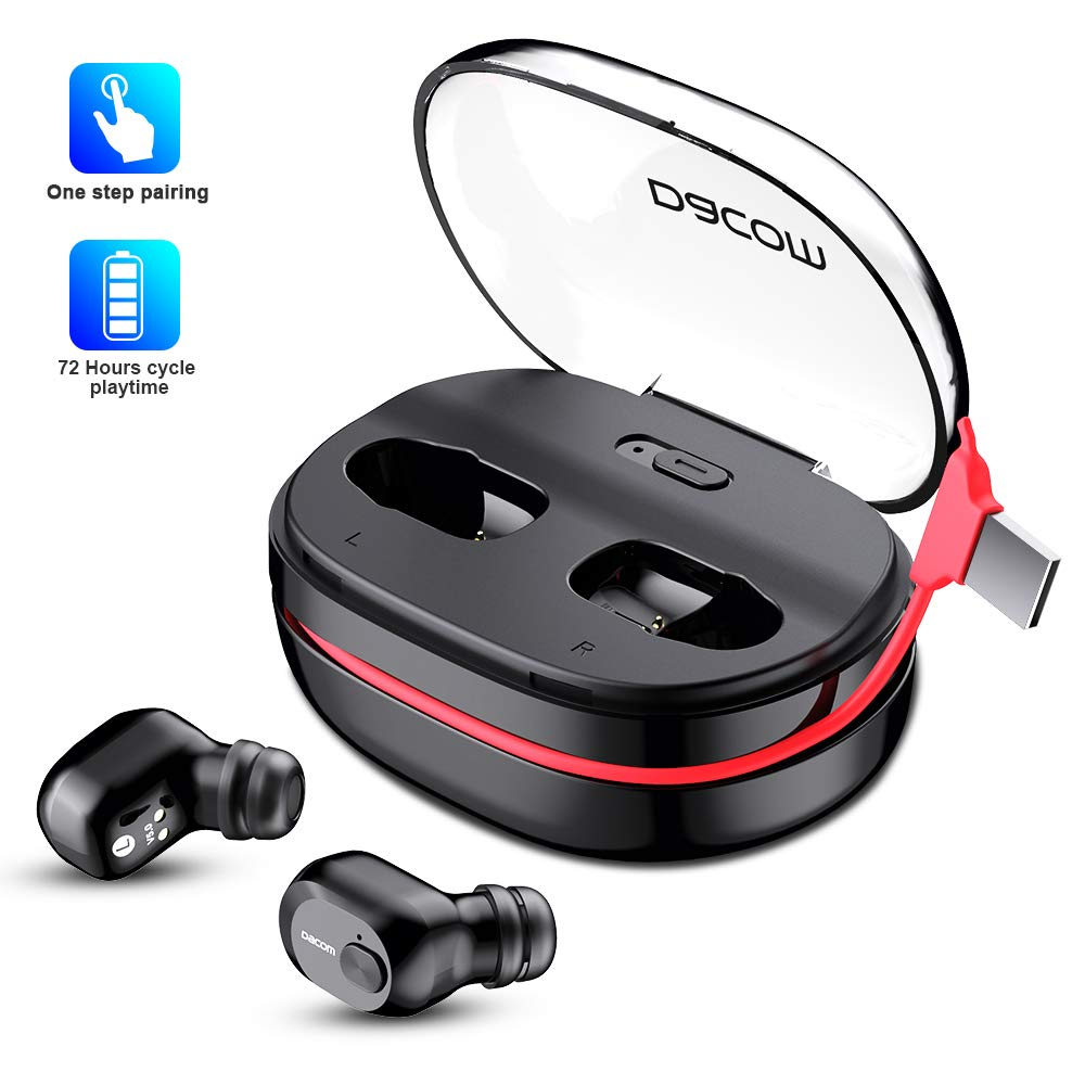 Wireless Earbuds, Iqua Bluetooth 5.0 Bluetooth Earbuds with 72h Playtime, Stereo Bass Wireless Earbuds for iPhone and Android, 1100mAh Charging Case with Hidden USB Cable with Built-in Silicon Mic