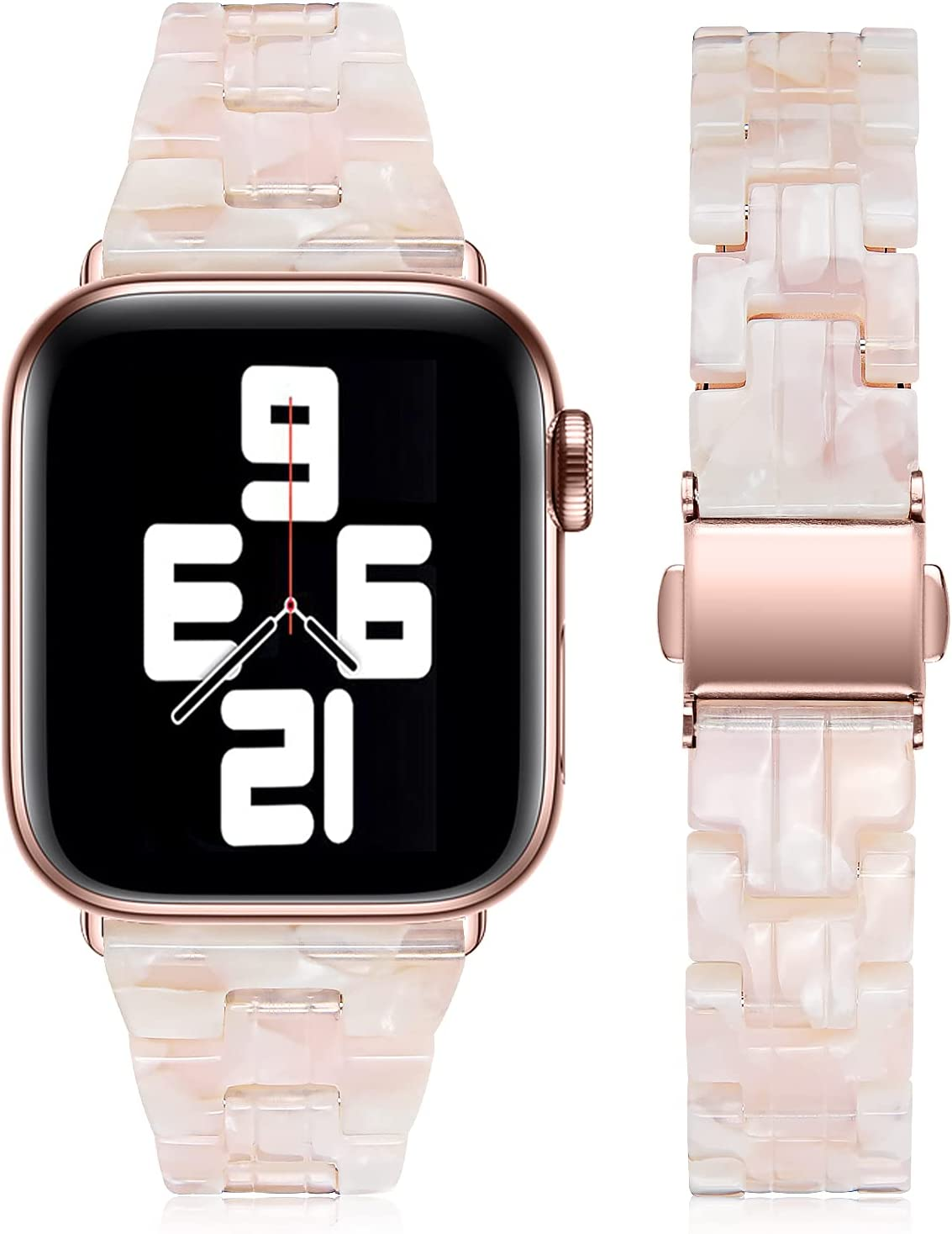 Joyozy Compatible with Apple Watch Bands 44mm 42mm Fashion Slim Resin Band For Apple Watch series 6 5 4 3 2 1 SE (Flower Pink, 42MM 44MM)