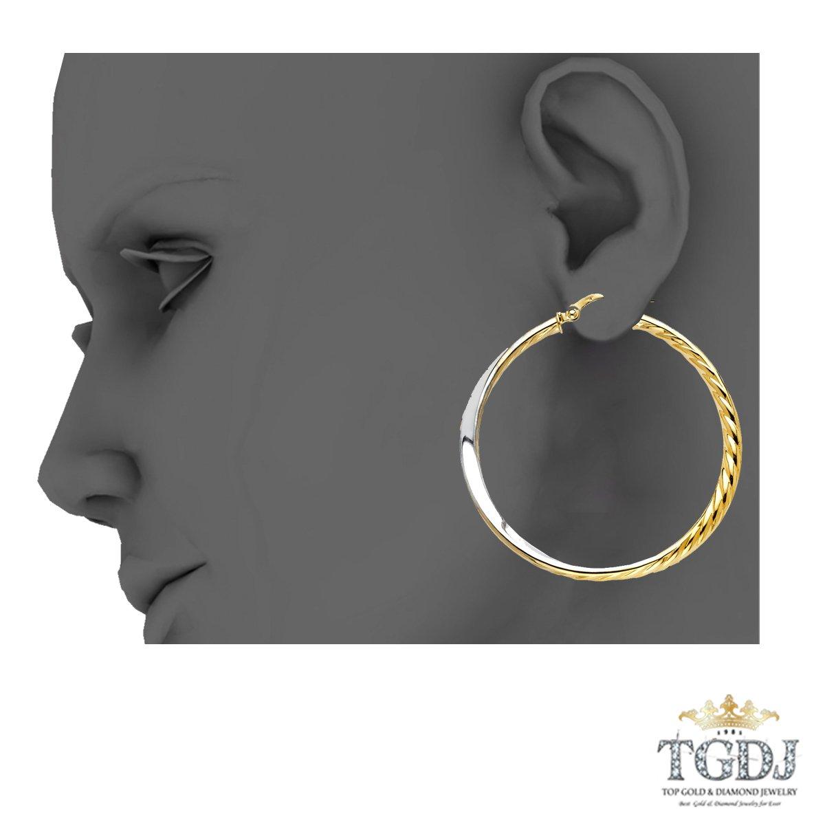Diameter 38 MM 14K Yellow White Twisted Hoop Earrings