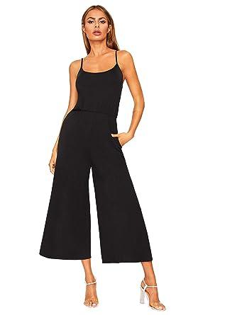 a25f1c2f27 DIDK Women s Spaghetti Strap Flare Wide Leg Cami Jumpsuit Culottes Black XS