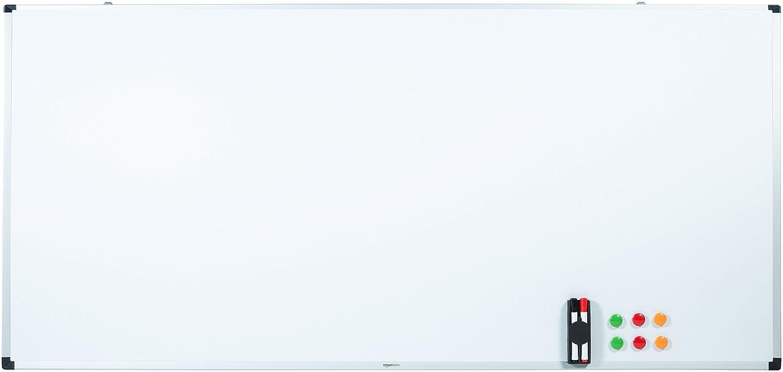 AmazonBasics Magnetisches Whiteboard mit Stiftablage und Aluminiumleisten, trocken abwischbar, 200 cm x 100 cm (B x H) 1548964537