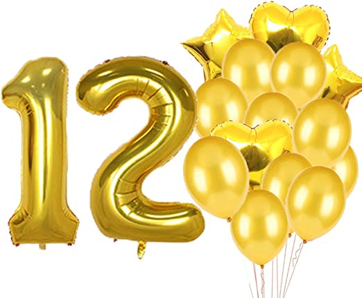 12TH BIRTHDAY STAR BALLOON 18 INCH MYLAR BIRTHDAY PARTY SUPPLIES