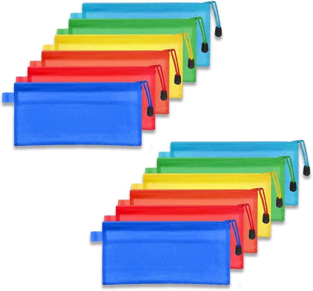 6 Couleurs 6 Pi/èces 6 Taille Zipper Fichier Sacs Pochette en Pvc Zip Sac de Dossier Stockage Sacs /à Glissi/ère pour Produits de Beaut/é Articles de Bureau Accessoires de Voyage