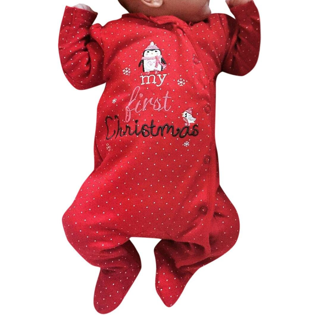 KEERADS Baby Clothing, Xmas Newborn Infant Boy Girl Christmas Home Letter Dot Print Rompers Red) KD-1116
