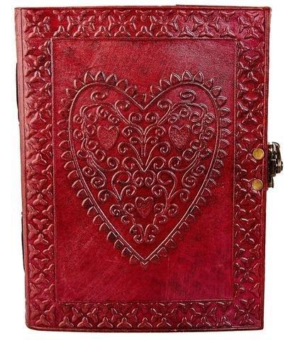 World Ltd, de cuero grande diseño de corazón de piel repujada / álbum de fotos de instagram (fabricado a mano) - copta...