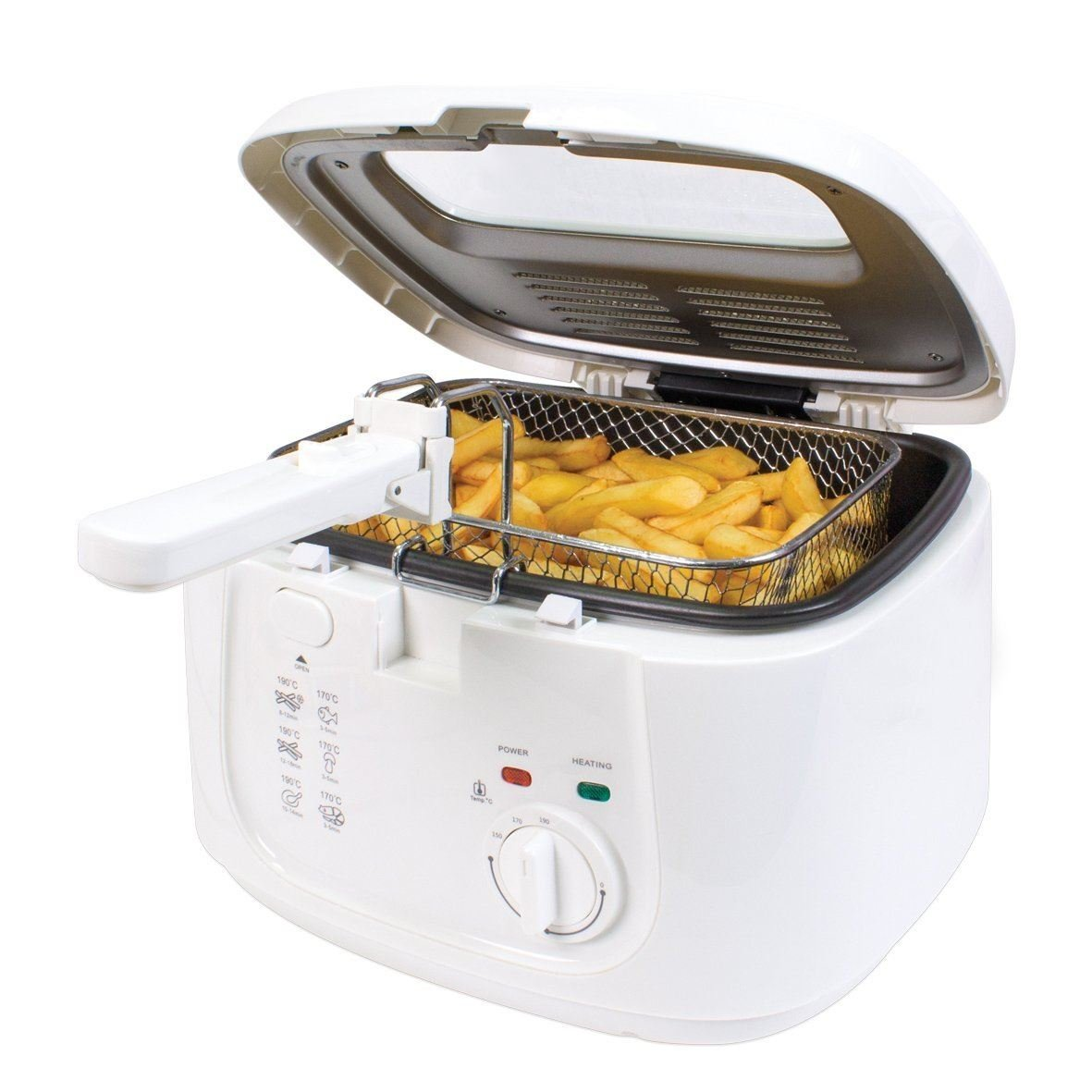 Unibos Removable Observation Window Lid Adjustable Thermostat Cool Touch Deep Fat Fryer 2.5 Litre 1800 W
