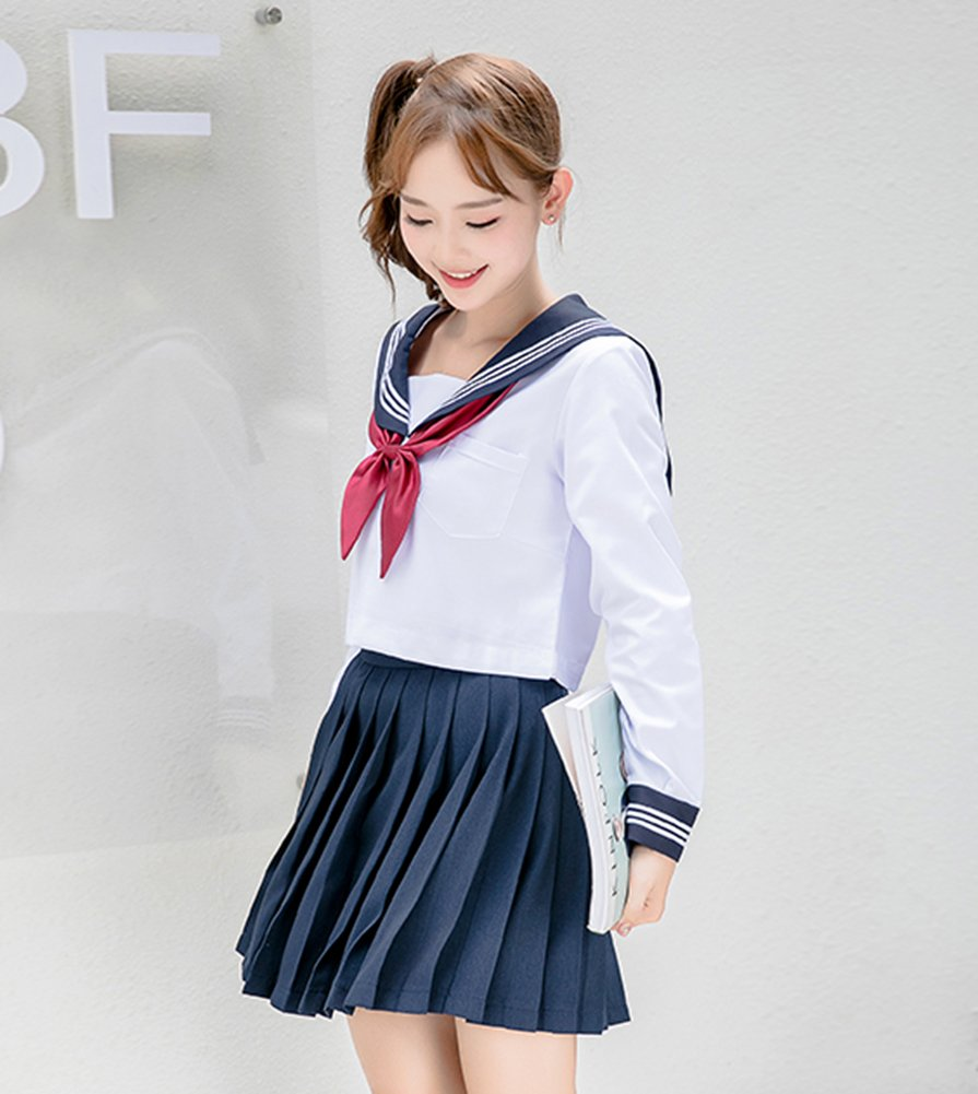 ROLECOS Girls Japanese Sailor Suit Japanese Anime Lolita Sailor School Uniform Long Sleeve 4 by ROLECOS (Image #3)