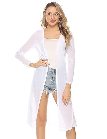 pretty nice 67dbf 6aa55 Abollria Damen Sommer Cardigan Leichte Lange Jacke Transparente Offene  Strickjacke mit Seitenschlitze,Weiß,M