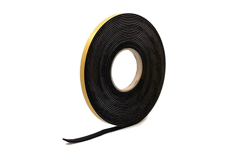 Ruban /éponge autocollant en n/éopr/ène Noir 12 mm de large x 5 mm d/épaisseur x 10 m de long