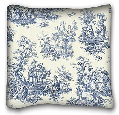 (Tarolo Decorative Square Blue Vintage Toile Throw Pillow Case Cases Cover Cushion Covers Sofa Size 18x18 Inches One Side)