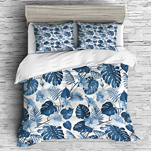 SCOCICI Double Size Duvet Cover Set/Leaf,Palm and Mango Tree Branch and Hawaiian Hibiscus Flower Image,Light Blue Turquoise and Dark Blue / 3 Piece Bedding Set ()
