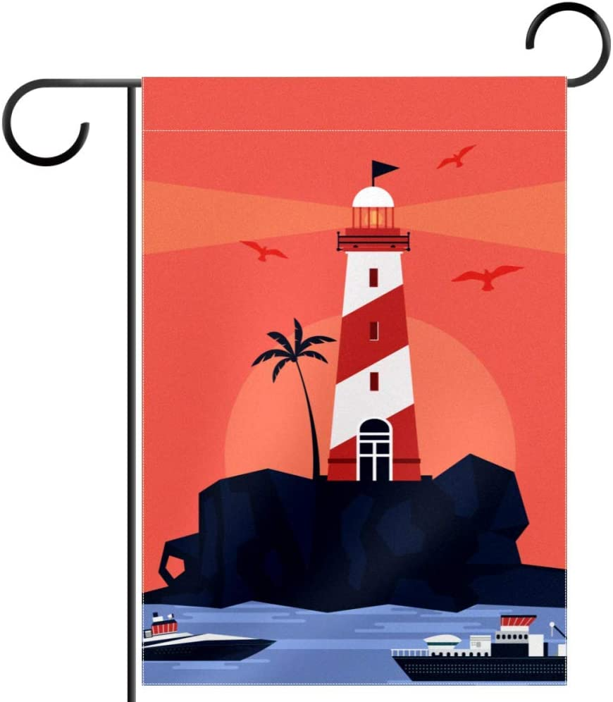 Welcome Garden Flag Waterproof Lighthouse Sunset Red - 28