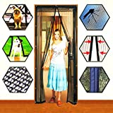 Markline Magnetic Screen Door Heavy Duty Mesh Hands-Free Retractable Full Frame Velcro Fits Door Openings up to 34