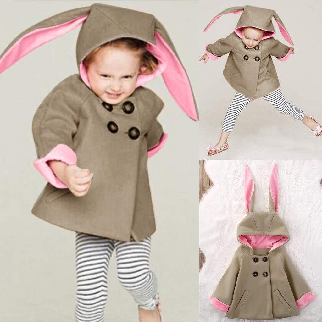 Kids Baby Boys Girls 3 Months-5T Winter Cartoon Rabbit Ears Coat Jacket Warm Outerwear Clothes