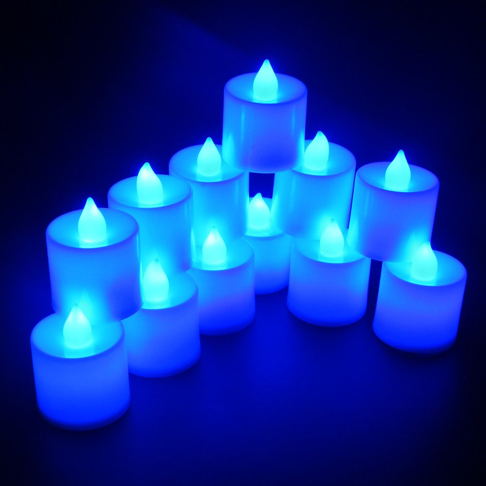 Flameless Candles,T-Trees LED Tea Light Candles With Battery-Powered Safety Electric Flickering Bulb Tealight Candles Decorations For Christmas Wedding Birthday Party Celebration (Blue 12pcs) by T-Trees (Image #6)