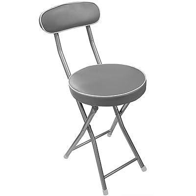 Chaise pliable en métal de couleur grise - Dim : L 30 x H72 x P43.5 cm-PEGANE-