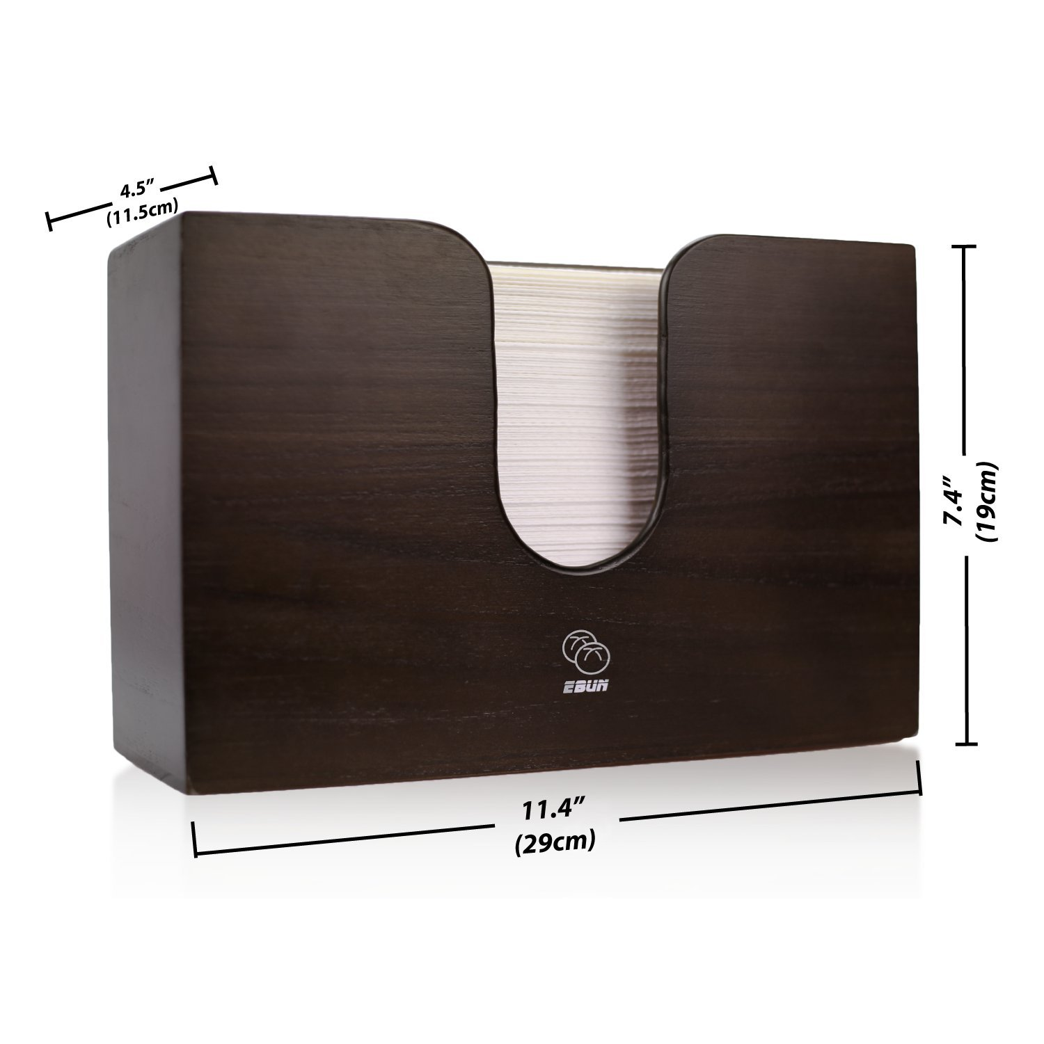 Wooden Paper Towel Dispenser for Kitchen & Bathroom - Wall Mount/Countertop Multifold Paper Towel, C-Fold, Zfold, Tri fold Hand Towel Holder Commercial (Brown) by eBun (Image #7)