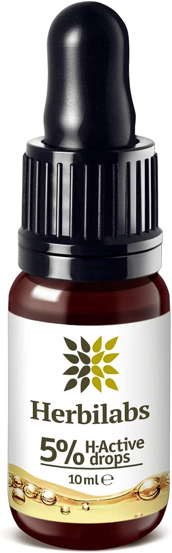 Premium Aceite de Semillas de Cañamo - Gotas Naturales 5% H-Active Hemp Oil | Para Alivio del Dolor & Ansiedad | Los Mejores Ingredientes de Cultivo Controlado | Aceites Esenciales Naturales 10ml