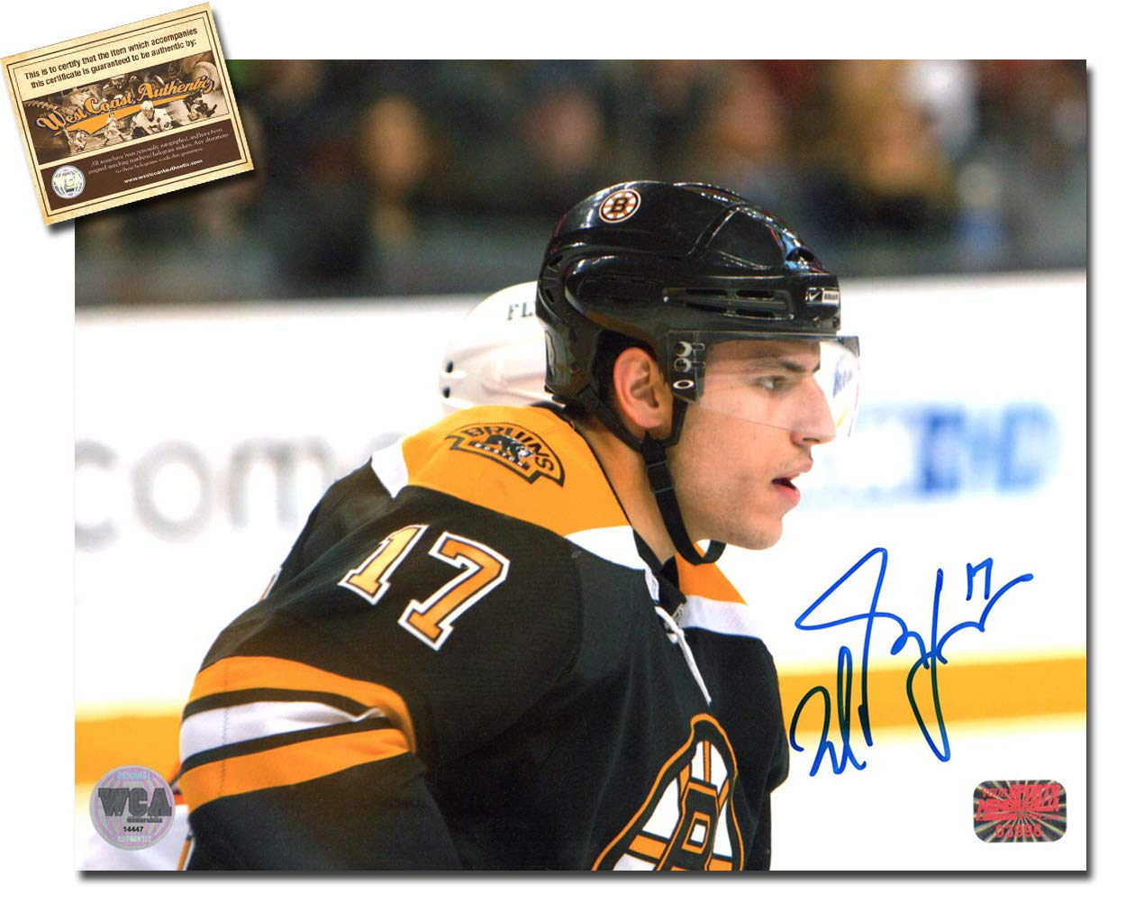 Milan Lucic Autographed Signed 8x10 Hockey Photo Memorabilia Certified with WCA Dual Authentication Holograms and COA West Coast Authentic