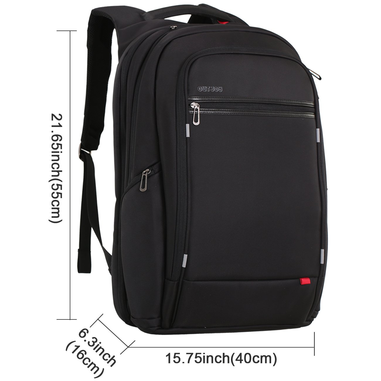 18 inch large Laptop Backpack for Men,Water Resistant Polyester Backpack with USB Charging Port,Large Bookbag College Backpack Travel bag Black Business Backpack fit 15.6 17.3 laptops by Outjoy by OUTJOY (Image #6)