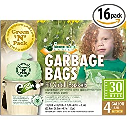 Green N Pack Small Garbage Bags 4 Gallon 30-count Boxes (Drawstring / Flat Top)