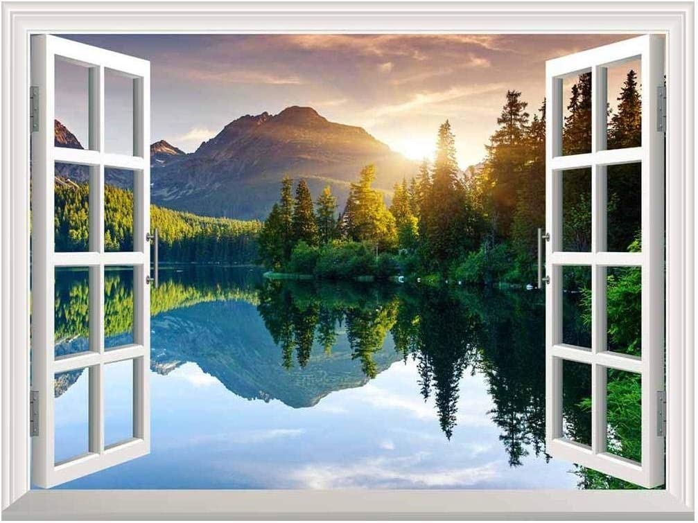 "wall26 - Self-Adhesive Wallpaper Large Wall Mural Series (24""x32"", Lake and Mountains)"