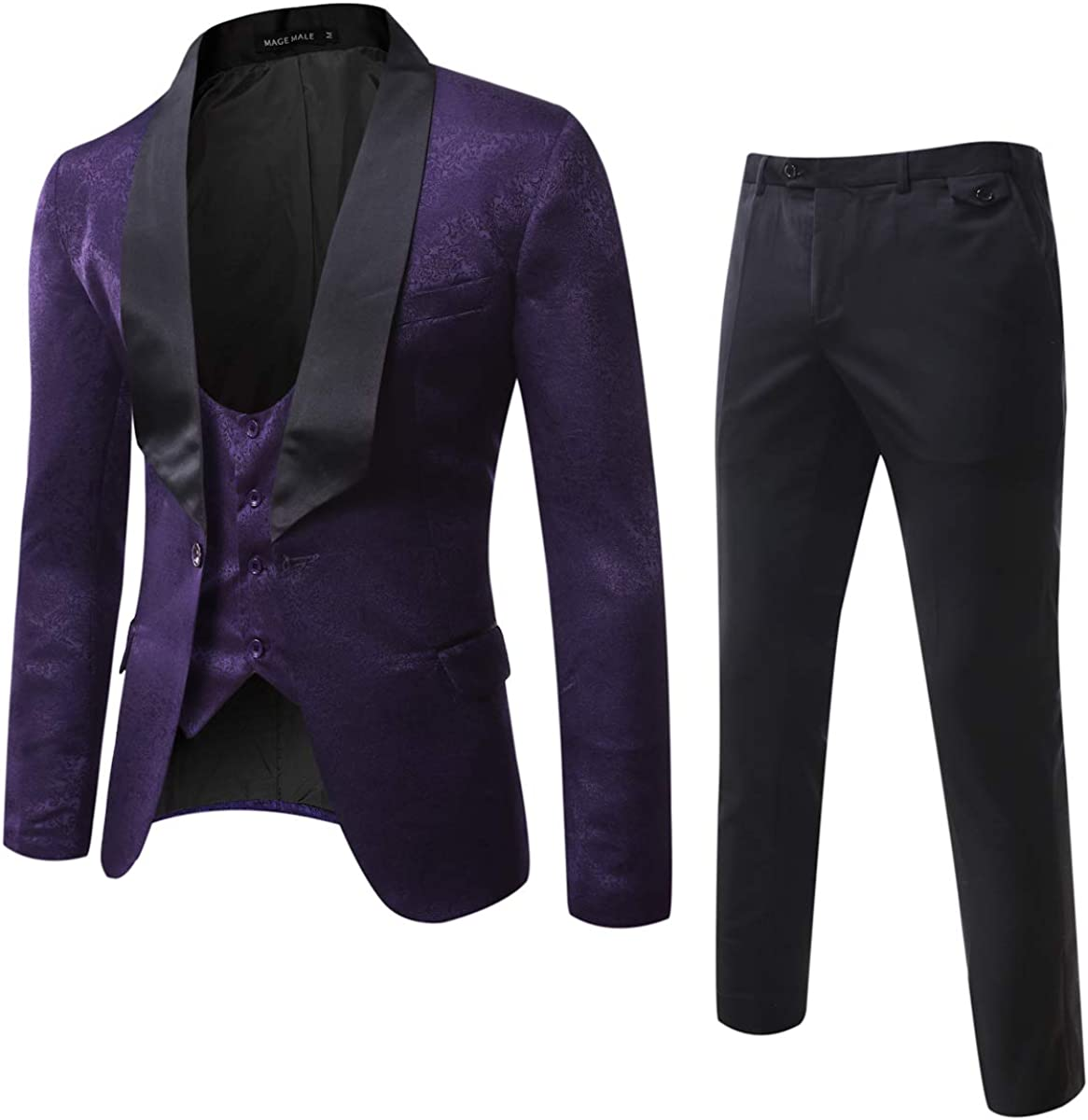 MAGE MALE Men's 3 Pieces Suit Elegant Print Tuxedos One Button Slim Fit Single Breasted Party Blazer Vest Pants Set