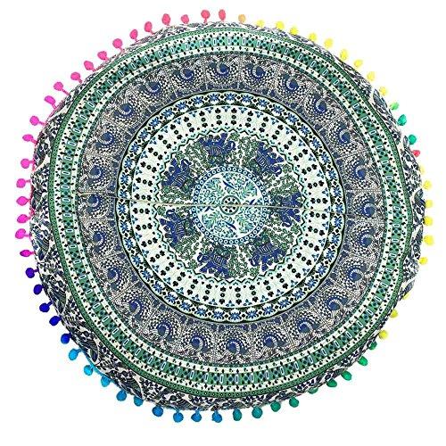(GOVOW Indian Decor Curtains Mandala Floor Pillows Round Bohemian Cushion Cushions Pillows Cover Case)