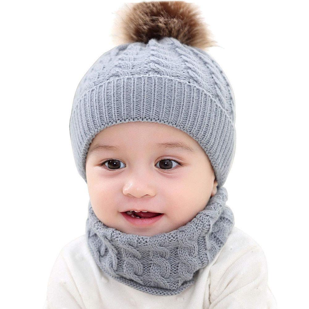 2Pcs Toddler Baby Girls Boys Winter Warm Knitted Bobble Hat Faux Fur Pompom Beanie Ski Cap+Scarf Keep Warm Set (Gray, 0-2 Year Kids)