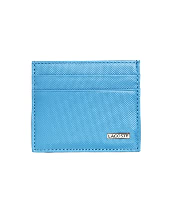 16461583eb8e LACOSTE - Business card holder - Men - Blue and black leather wallet - TU   Amazon.co.uk  Clothing