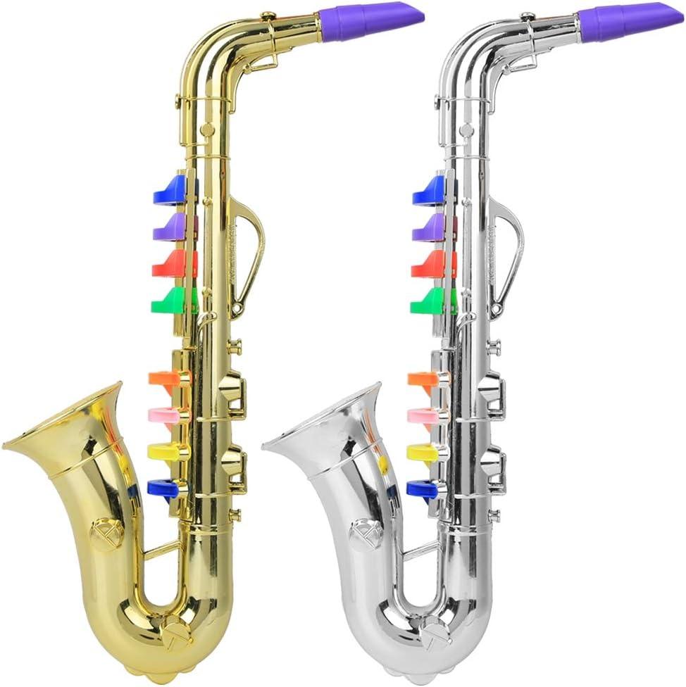 Oro Pl/ástico Ni/ños Saxof/ón Juguete Mini Saxof/ón Sax Ni/ños Instrumento musical Juguete Regalo Ni/ños Saxof/ón