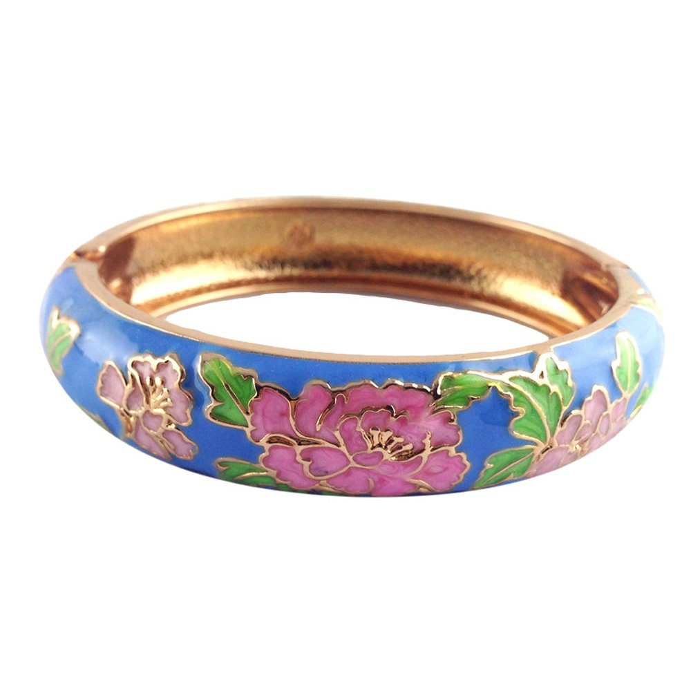 UJOY Hollow Bangle Bracelet Colorful Cloisonne Butterfly Enamel Rhinestone Womens Jewelry Gift for Birthday Vacation