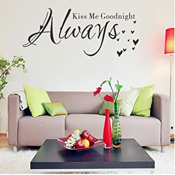 Always Kiss Me Goodnight Vinyl Decal Cartoon Wall Sticker English Words  Quote Wall Art Kids Bedroom