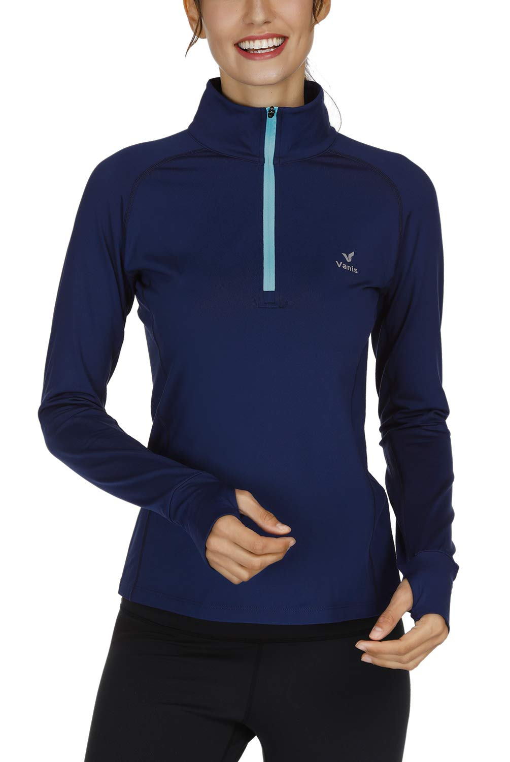 Vanis Women's Workout Yoga Track Jacket Long Sleeve Running Shirt 1/2 Zip Pullover (Blue, X-Large) by Vanis