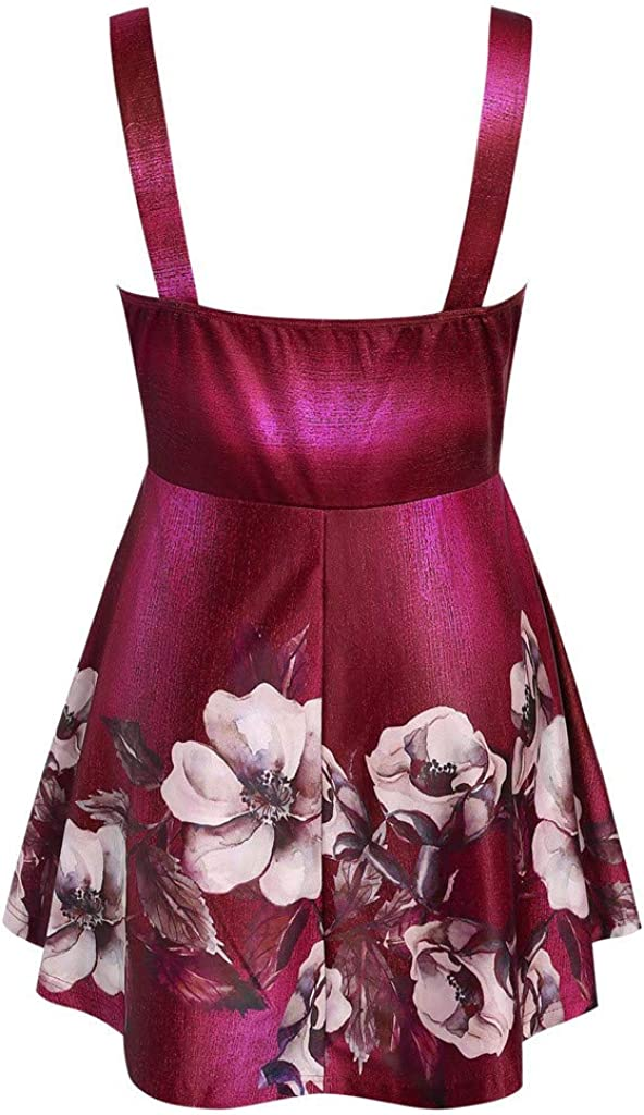 Summer Tank Tops for Women Casual Plus Size Floral Print Cut Out Empire Waist Vest Camis Shirts Blouse Crop Tops