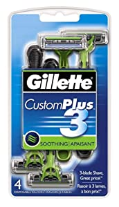 Custom Plus Men's 3 Disposable Razor 4 Count (6 Pack)