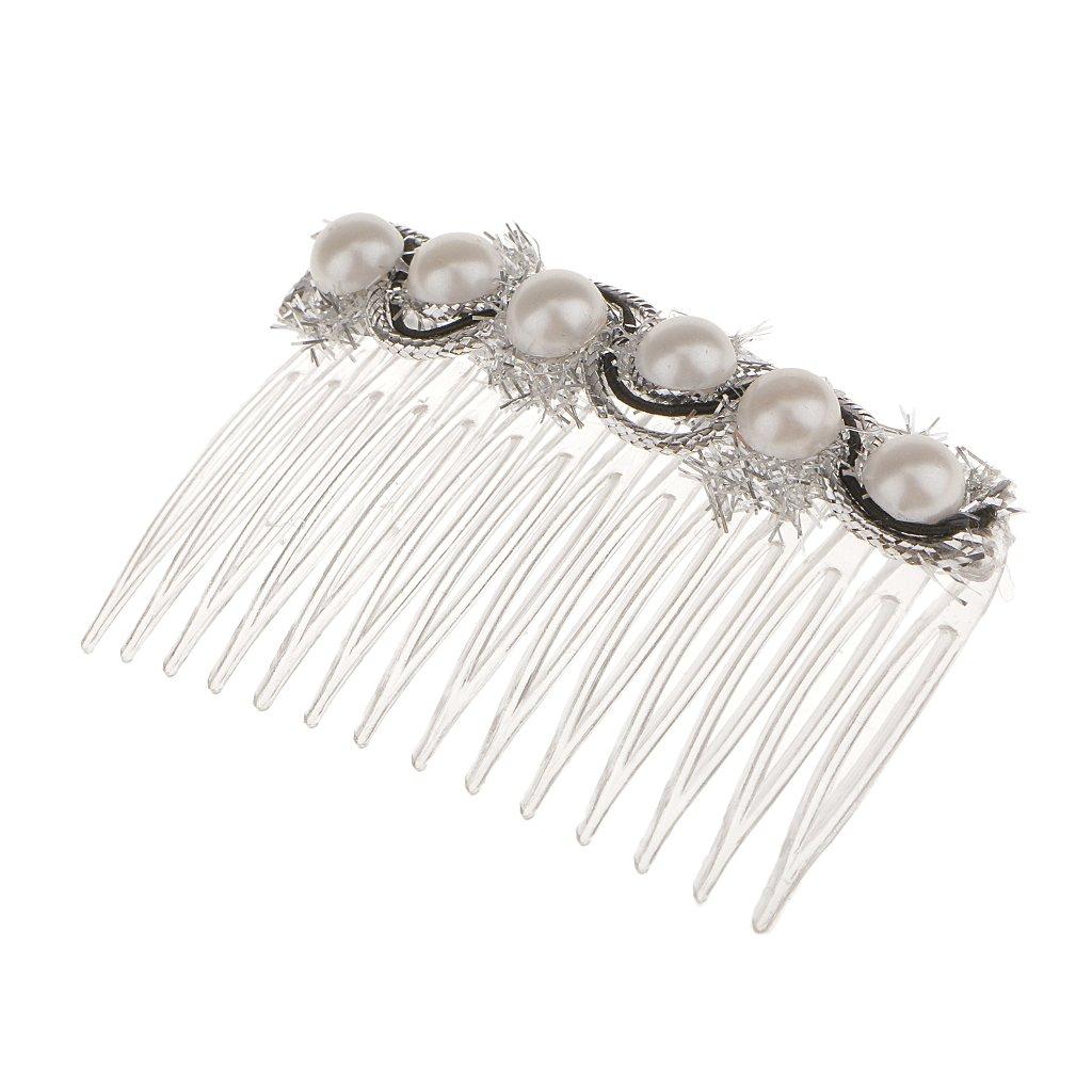 MagiDeal Bridal Wedding White Pearls Hair Comb Hairpin Hair Accessories