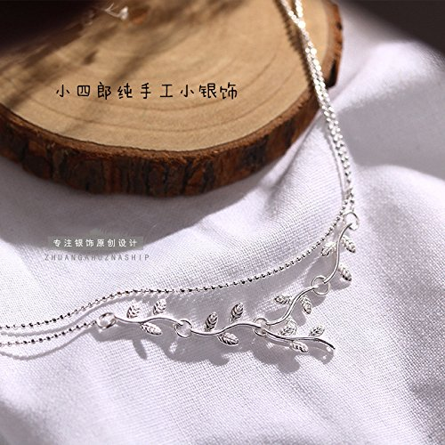 TKHNE New leaves 925 Silver Foot Chain anklet ankle chain simple double-leg-extension vines Exquisite silver bead chain extension Double Leaf Extensions