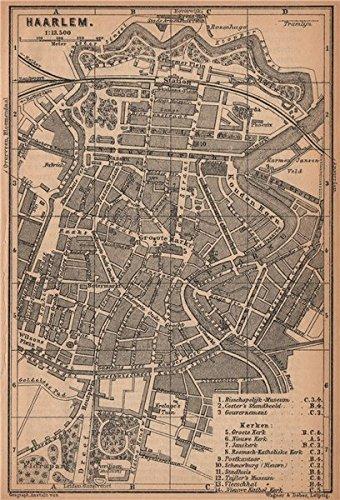 Amazon.com: HAARLEM antique town city stadsplan. Harlem. Netherlands ...