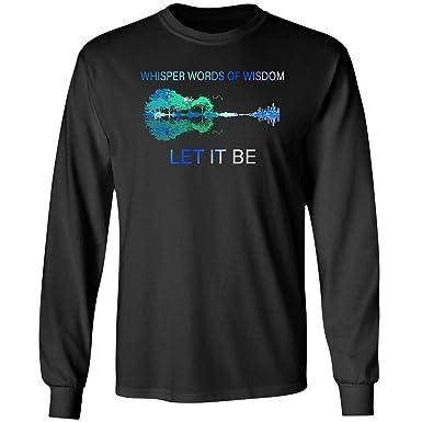 c74e3573b Amazon.com: VADOBA Whisper Words of Wisdom Let it be T Shirt Guitar Lake  Shadow Long Sleeve (2XL,Black): Clothing