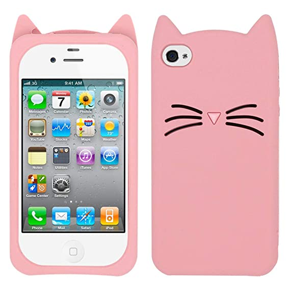 buy popular a18c2 85546 Yonocosta iPhone 4 Case, iPhone 4S Case, Fashion 3D Cute Cartoon Whisker  Cat Kitty Case, Soft Rubber Silicone Bumper Shockproof Back Cover for  iPhone ...
