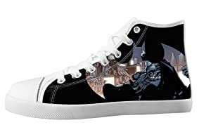 For Batman Design High Top Lace Up Canvas Custom For Women's Shoes-10M(US)