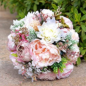 KUPARK Handmade Romantic Roses Dahlia Peony Hydrangea Artificial Flowers Blossom with Leaves Decor Bridal Bridesmaid Bouquet Home Wedding Decoration Gift for Birthday Valentine's Day 3