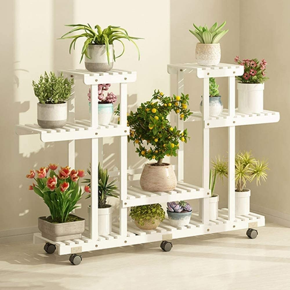 Soporte para flores de madera con ruedas desmontables de cuatro ...