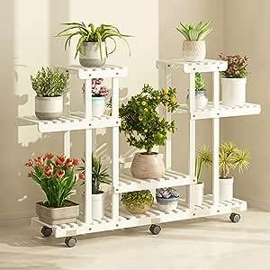 LF- Flower Stand Soporte de madera de la flor con ruedas ...